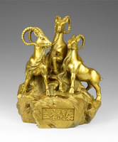 Chinese Fengshui Handmade Brass Goat Sheep Statue Golden Wealth Three Rams Bring Bliss Figurine Home Decor Housewarming Congratu