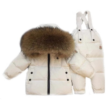 -30degrees Russia Winter Baby Outerwear Children Clothing Set Boy Girl Ski Outdoor Sport Suit Kids Down Jacket Coat+trousers Fur