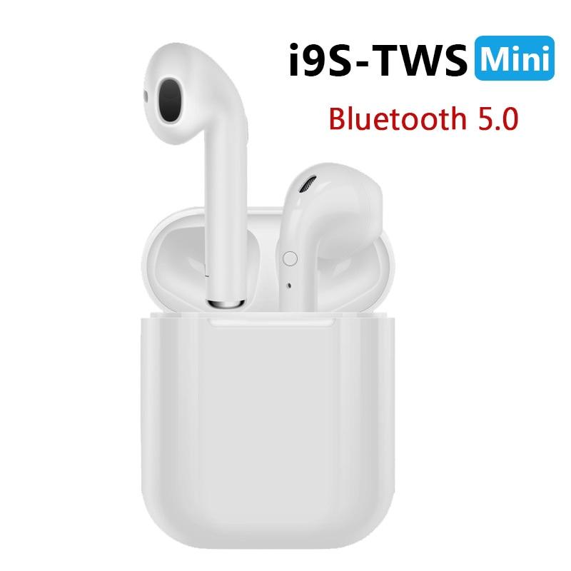 Baru I9S Tws Mini Bluetooth Earphone Headset Nirkabel Headphone Bluetooth 5.0 Stereo Olahraga Earbud dengan MIC untuk Ponsel Andorid