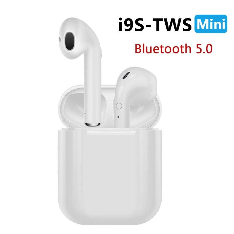Neue i9S TWS Mini Bluetooth Kopfhörer Wireless Headset Kopfhörer Bluetooth 5,0 Stereo Sport Ohrhörer mit Mic für Telefon Andorid
