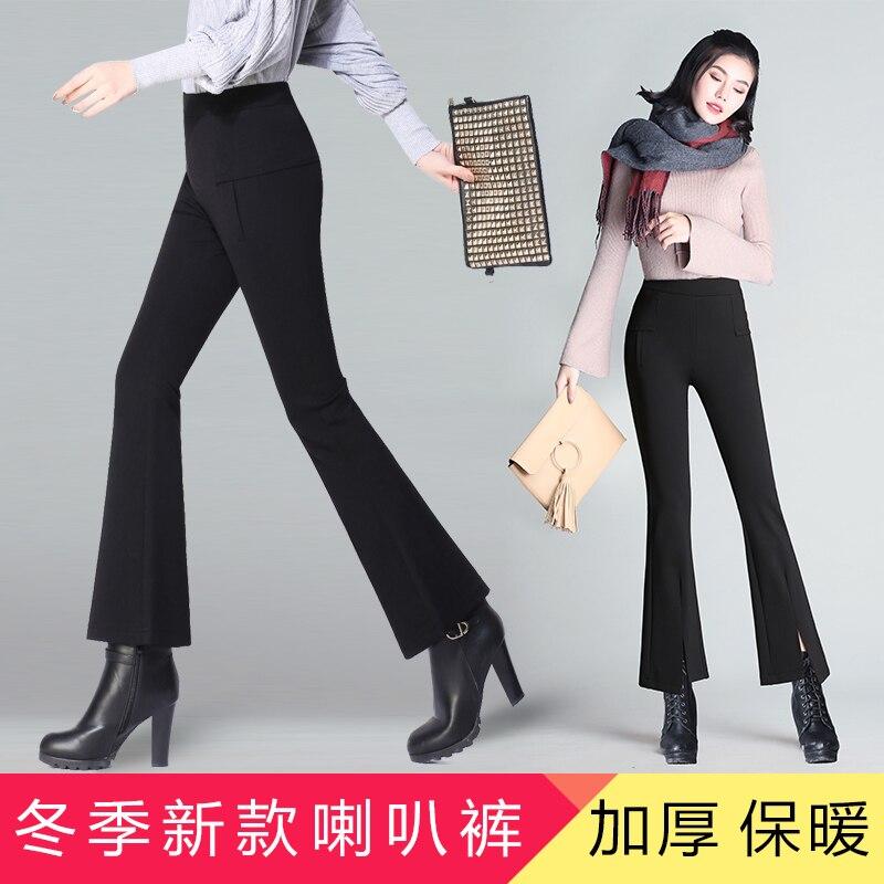 De Micro Noir Flare Coréenne Pantalon Épais Le Haute À Nouvelle 2019 Femelle Neuf Et Larges D'hiver Jambes Automne Version Taille rRRwH