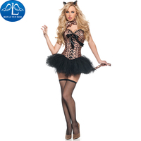 MANLUYUNXIAO Halloweeen Cosplay Sexy Animal Fancy Dress Leopard Tiger Catwoman Costume Women Carnival Costume Free Shipping