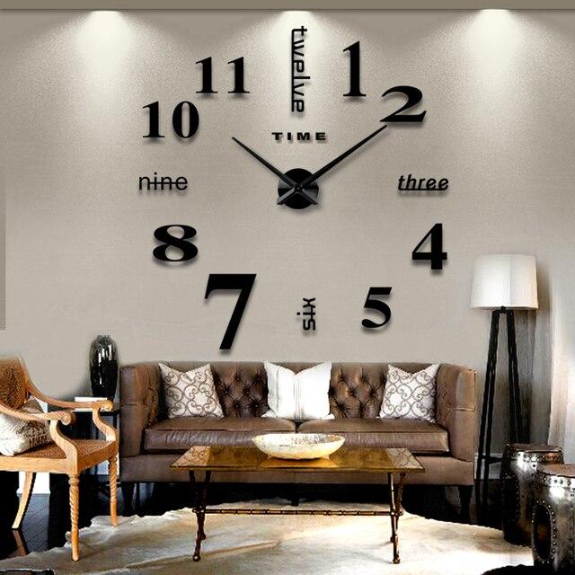 2018 new arrival 27/47 inch3d home decor quartz diy wall clock clocks horloge watch living room metal Acrylic mirror