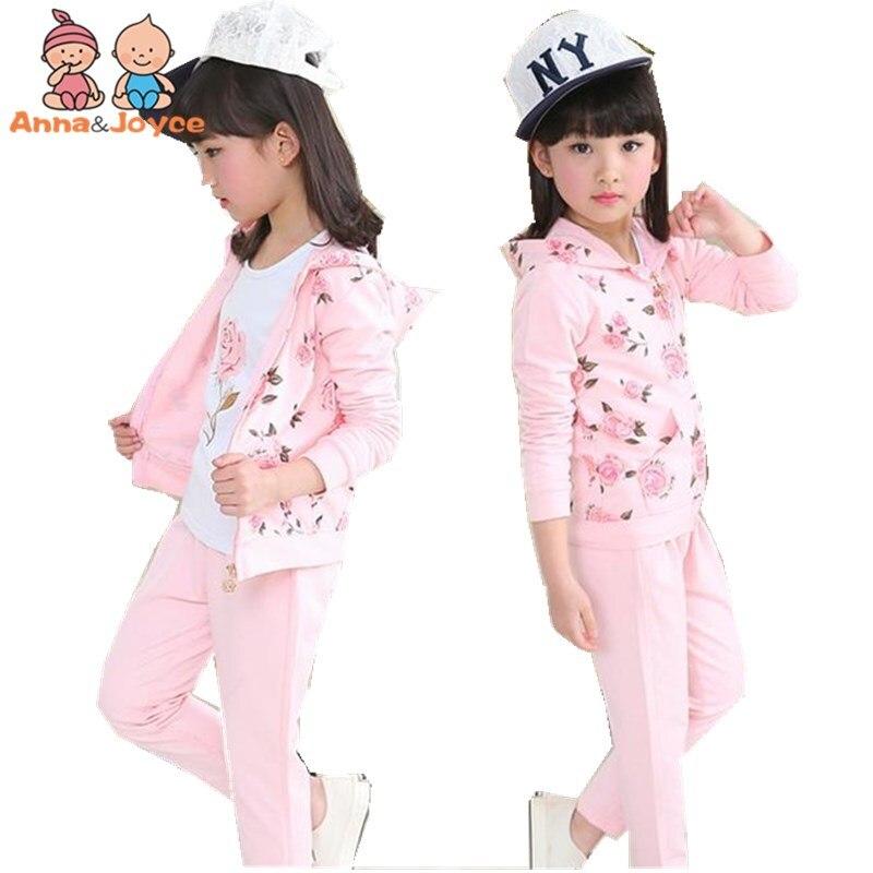 Autumn New Children 's Wear Casual Girl Cotton Sportswear Uniforms Children' S Three - Piece TST0334 henry cotton s бермуды