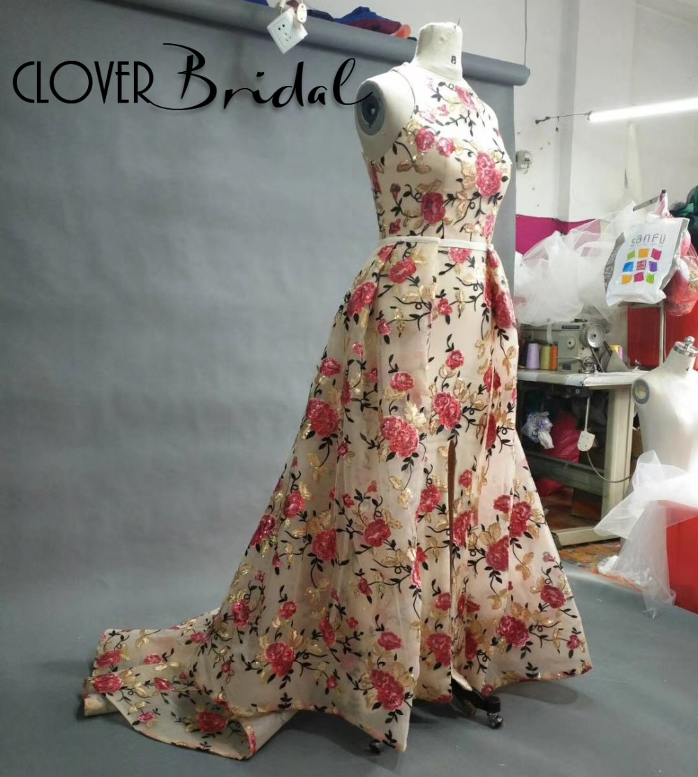 CloverBridal High quality Free Tailor made 2018 Fashion Special Occasion Dresses Floral Print with Removable A-line skirt