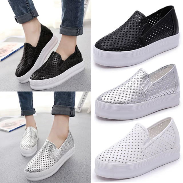 7b0763222 2015 Women Platform Slip on Hollow Out Breathable Women Shoes Pregnant  Loafers Creepers Black White Silver Women flats-in Loafers from Shoes on ...