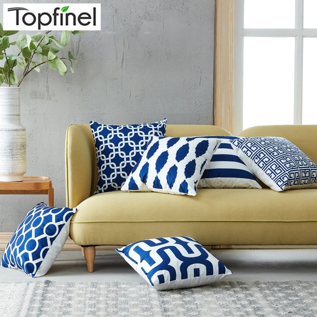 Aliexpress Topfinel Geometric Decorative Throw Pillow Cases Cushion Covers Navy Blue For Sofa Seat Chair Microfiber 45x45 Cm From