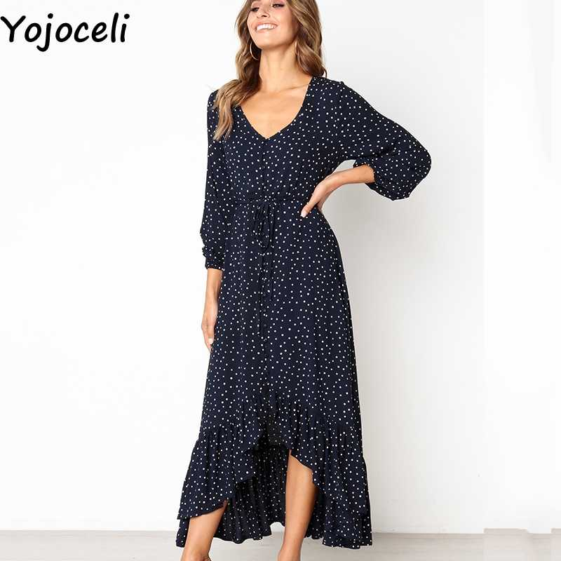 0b90b4a98be99 Yojoceli 2018 new autumn ruffle polka dot print dress Long beach casual  navy maxi dress Elegant party women dress