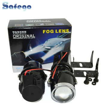 цена на Safego 12V 55W H3 Halogen bulbs metal clear glass fog light Projector Lens H3 Fog Lights warm white car auto fog lamp headlight