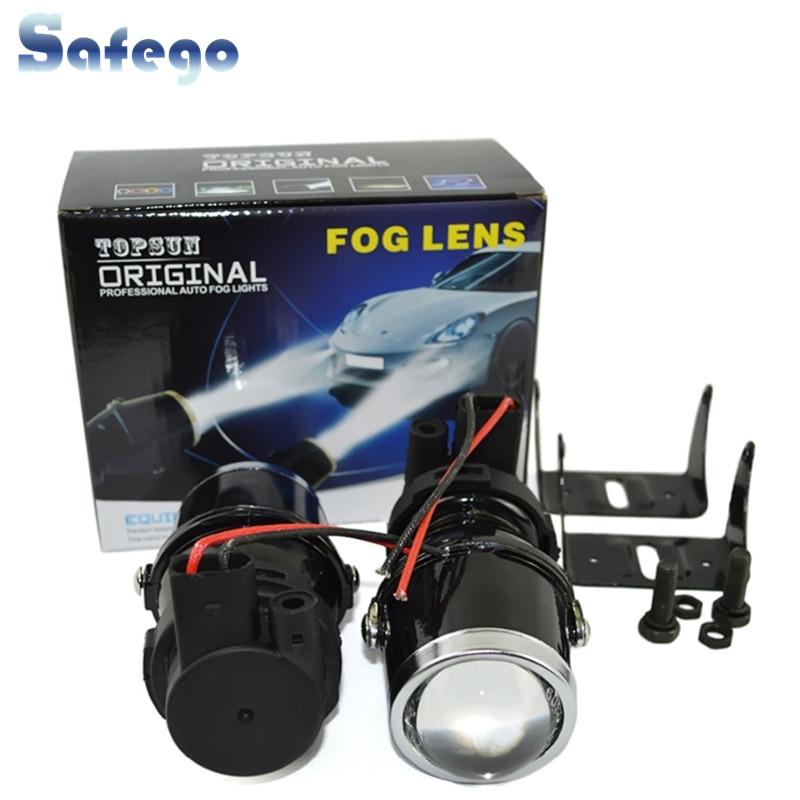 Safego 12V 55W H3 Halogen bulbs metal clear glass fog light Projector Lens H3 Fog Lights warm white car auto fog lamp headlight
