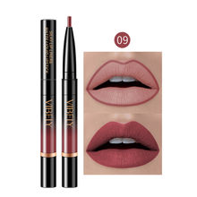 16 kleuren Double Headed Waterdichte Matte Lippenstift Potlood Lip Liner Make Contour Lip Tint Sexy Langdurige Lipliner Lippenstift f(China)