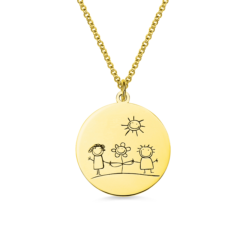 Wholesale Gold Color Back Engraved Necklace Graffiti Disc Necklace 925 Sterling Silver For Birthday Gift