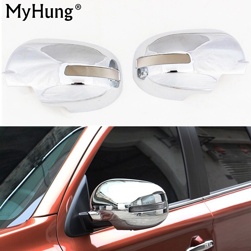 цена на For Mitsubishi Outlander 2013 2014 rearview mirror cover side mirror cover special modified ABS Chrome trim 2pcs per set