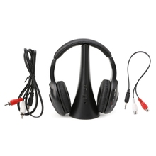 OOTDTY  Earphone 5 In 1 Wireless Stereo Headset Transmitter FM Radio Headphone with Stand For TV DVD MP3 PC multifunction wireless headphone over ear headband handsfree headset with fm radio for tv pc computer