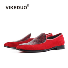 VIKEDUO 2019 Hot Red Suede Loafer Shoes Men Handmade Casual Footwear Wedding Office Patina Male Bespoke Zapato Hombre Slip-On 2018 sale vikeduo handmade mens loafer black suede 100