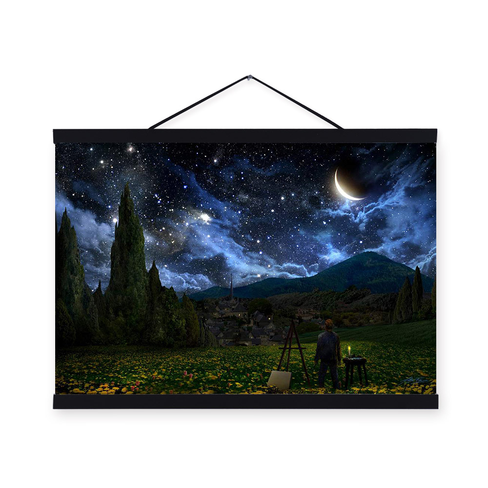 rural starry night landscape artist van gogh a4 large cheap art print poster wall picture canvas