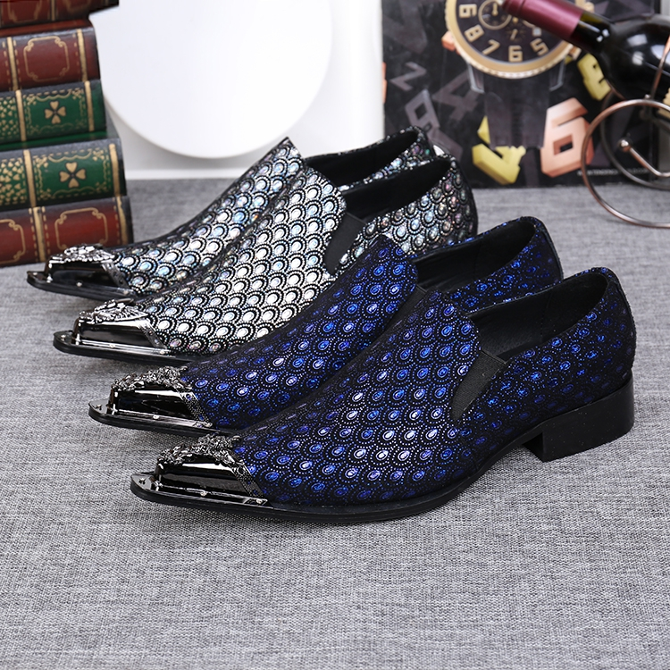 European Style Shiny Formal Dress Shoes Men Pointed Toe Oxford Shoes Slip On Chaussure Homme Blue Business Mens Loafers 2017 pointed toe tassel leather shoes men slip on brogue shoes flats british style rivet shoes casual loafers chaussure homme 022