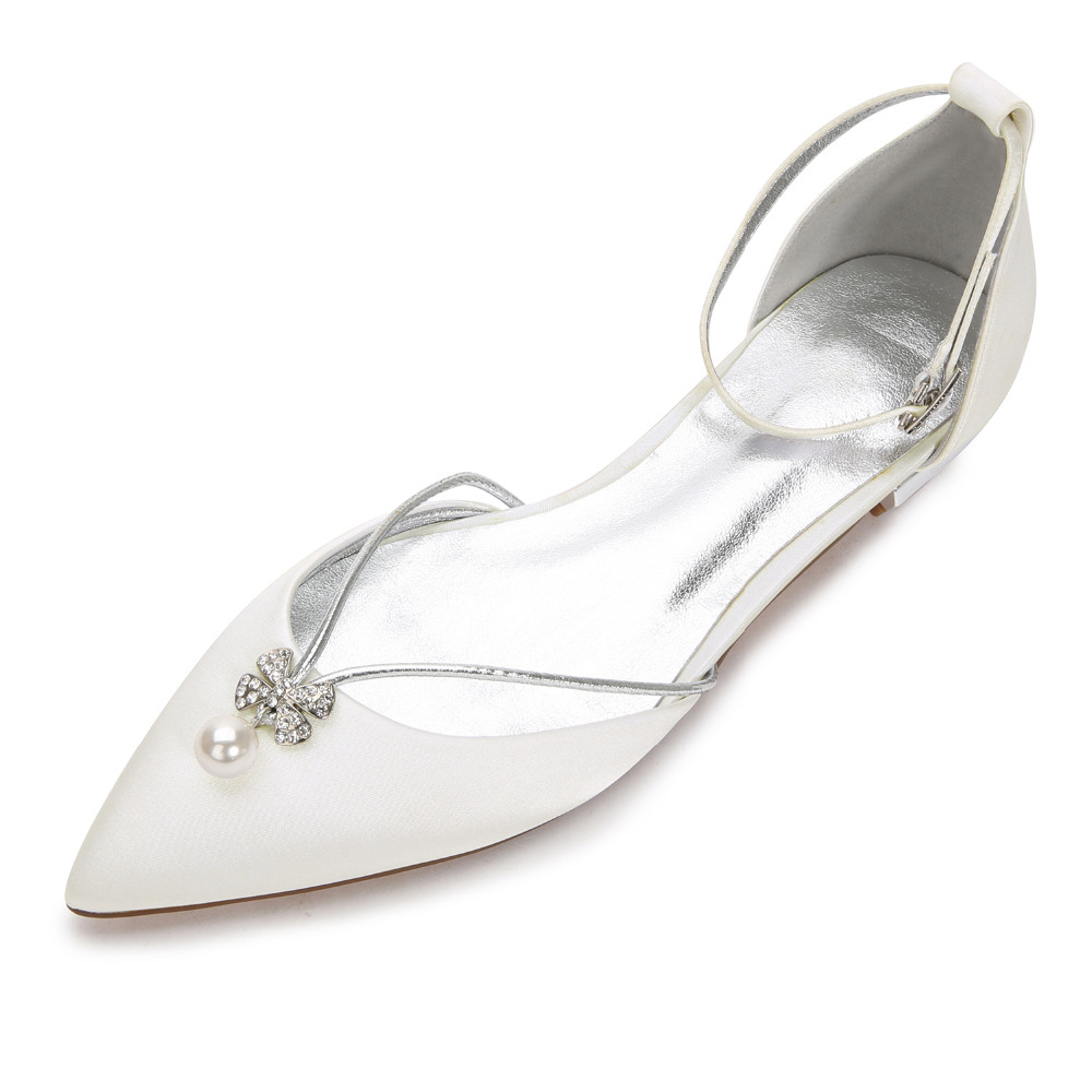 Creativesugar Elegant Pearl Flower Shape Crystal Charm Lady Satin Lace Dress Flat Shoes Sweet Pointed Toe Flats Bridal Wedding