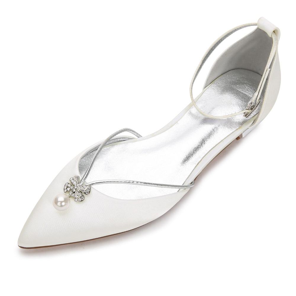 ... bridal wedding prom party shoes. US  40.41. Creativesugar elegant pearl  flower shape crystal charm lady satin lace dress flat shoes sweet pointed  toe 214fb7e9630e