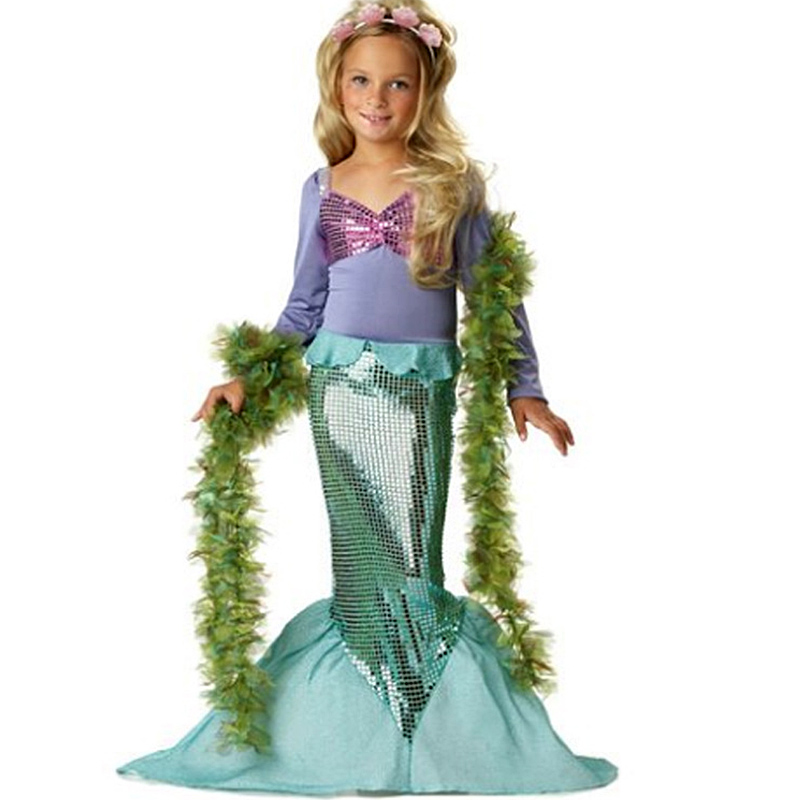 New Girls Mermaid Dresses with Pearl Children Halloween Little Mermaid Ariel Cosplay Costumes for Kids Carnival Party Dress 3-10 princess ariel dress halloween costumes fancy the little mermaid ariel cosplay costume mermaid costume green party dress