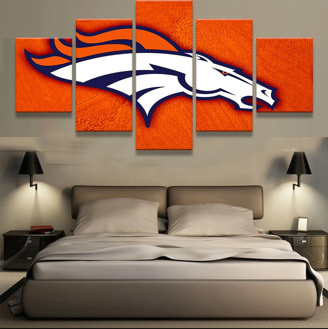 Genial 5 Panel Denver Broncos Logo Sports American Football Oil Painting On Canvas  Modern Home Living Room