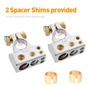Image 2 - MICTUNING 2pcs Car Battery Terminal Connectors Kit 2/4/8/10 AWG Positive Negative Car Battery Post Clamp w/ 2 Clear Covers Shims