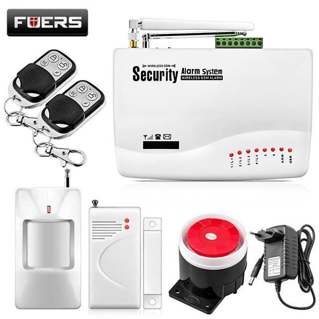 FUERS Russische Englisch Stimme Verdrahtete Drahtlose GSM Alarm System Dual Antenne GSM Alarmanlagen Sicherheit GSM Alarm App Control