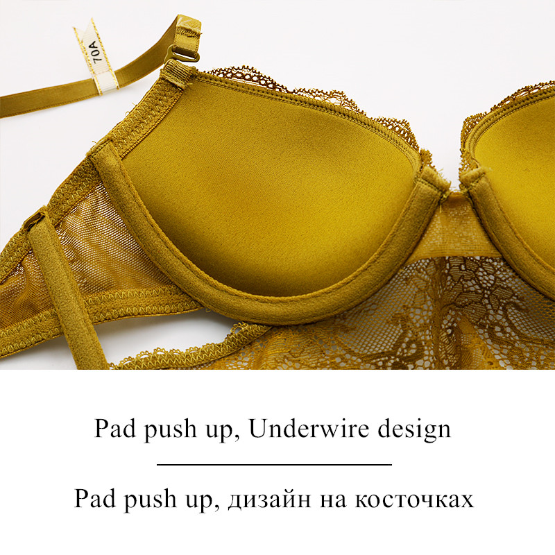 Brand Lingerie Sexy bra and panty set High Quality Women Underwear 3/4 Cup Lingerie Set Push Up Brassiere Solid color underwear