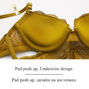 Image 5 - Brand Lingerie Sexy bra and panty set High Quality Women Underwear 3/4 Cup Lingerie Set Push Up Brassiere Solid color underwear