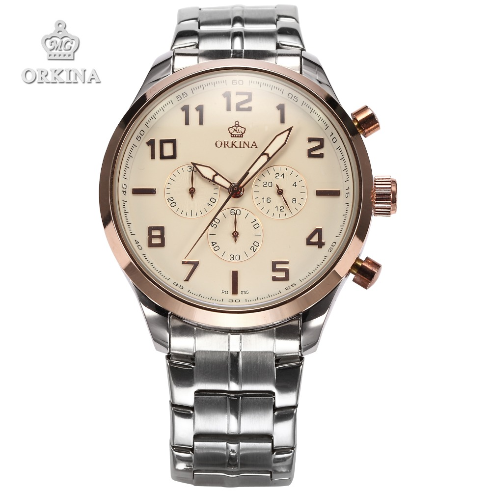 2016 Mens Luxury Rose Gold Chronograph Military Quartz Watch Men Orkina Brand Stainless Steel Clock Men's Wrist Watches Zegarek orkina brand clock 2016 new luxury chronograph rose gold case black dial japan movement mens wrist watch cool horloges