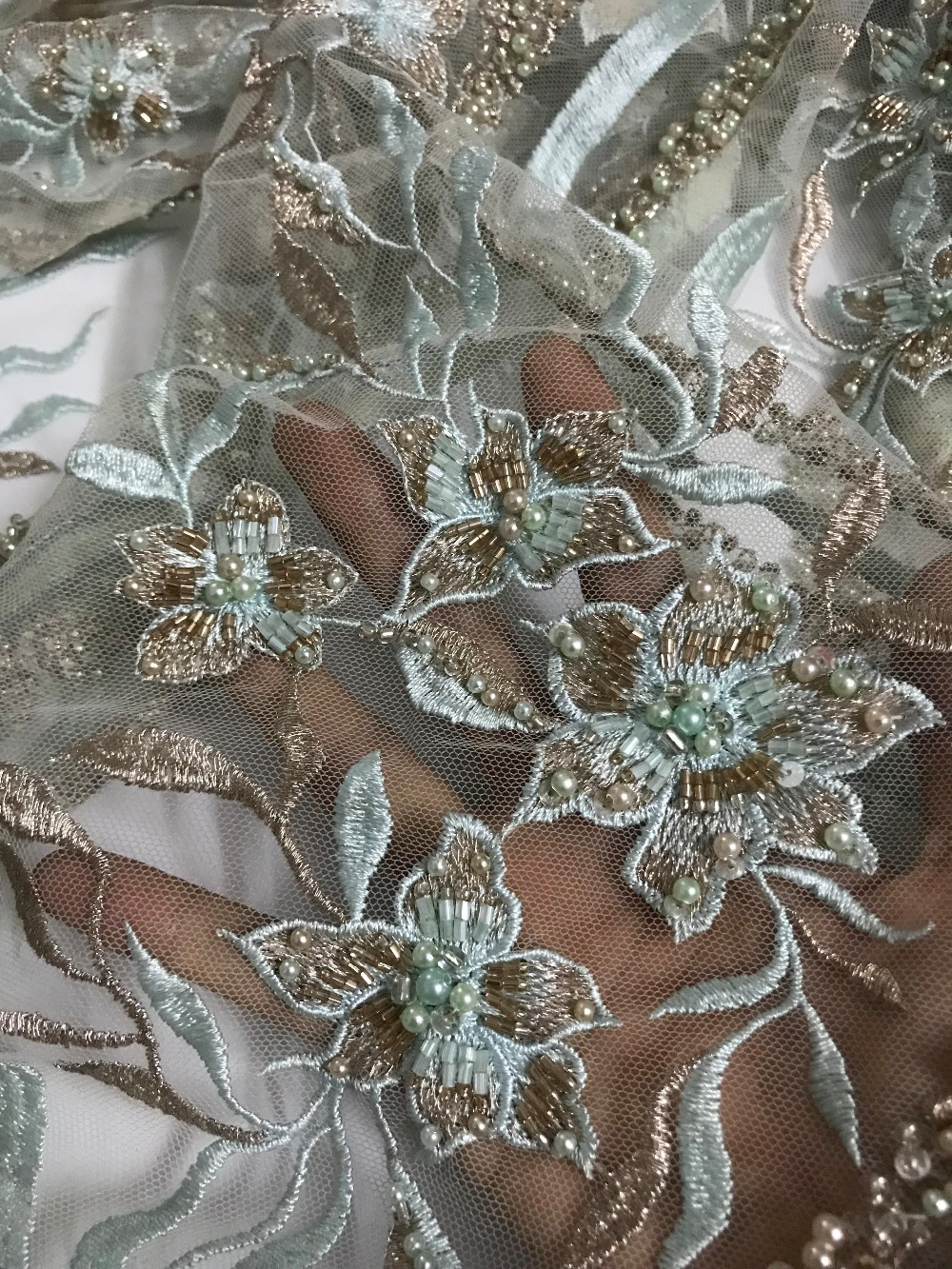embroiderd lace fabric David 11 2202 with sequins beautiful Nigerian sequins lace fabric for party dress
