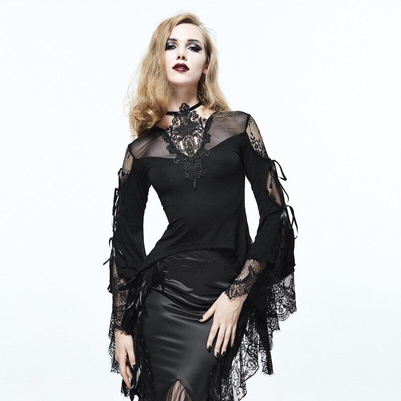 2019 nouveau SteamPunk femmes mode noir Sexy moulante T-Shirt noir Sexy transparent dentelle chemise gothique T-Shirt hauts Club fête