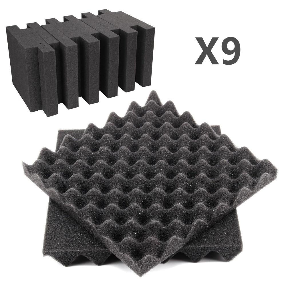 9 Pcs 25*25*5cm Waterproof Polyurethane Foam Soundproofing Egg Crate Acoustic Treatment Sound Foam Sound-absorbing Sponge