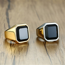 Hip Hop Stainless Steel Black Ring For Men Women Jewelry Gold Silver Color Mens Rings Dropshipping