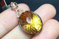 TJP naturale DELLA PIETRA PREZIOSA citrineb citrino 18 k oro Rosa intarsiato con 18 diamante con certificato charms pendente della collana