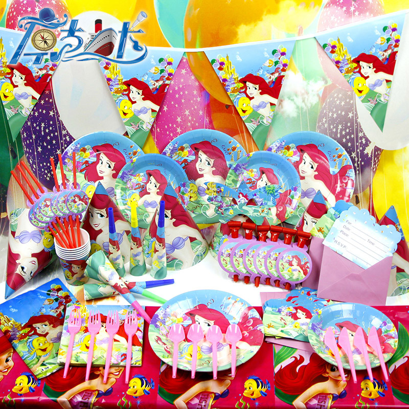 new 78pcs 6 kids baby birthday party decoration little girl boy child party supplies mermaid princess - Party Decoration Stores