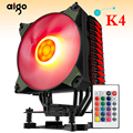 Aigo ледяной K4 Процессор охладитель TDP 300 W 4 теплопроводов холодильник 4pin PWM RGB 120mm вентилятор радиатора для LGA 2011/1151/1155/1156/775/1366/AM2 +/AM3 +/AM4