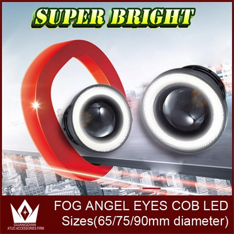 2PC 10W Auto LED Fog Light With Lens COB Angel Eyes Foglight 3 Inch Projector Halo Rings White Fog Lamp For Volkswagen VW t4 t5 merdia 10w 700lm 6000k cob eagle eyes white light foglight for motorcycle