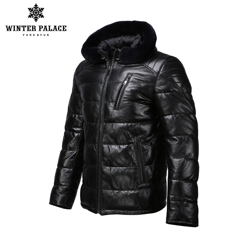 Nouvelle veste en cuir d'hiver apporter chapeau veste en cuir hommes veste en coton interne hommes en cuir véritable chaud jaqueta de couro mascul-in Manteaux en cuir véritable from Vêtements homme    2