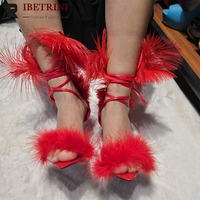 RIBETRINI Women Shoes Big Size 36 47 High Heels Feather Sweet Fashion Gladiator Party Summer Sandals Shoes Woman