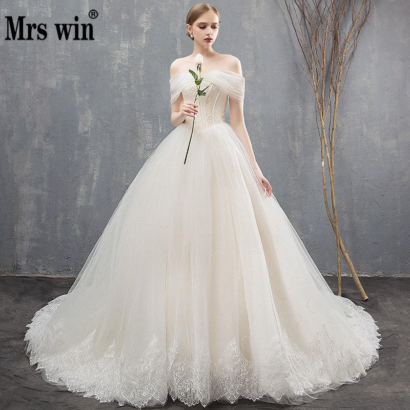 Robe De Mariee Grande Taille 2020 New Mrs Win Off The Shoulder Princess Luxury Vestido De Novias Bling Bling Wedding Dresses F