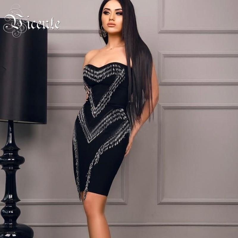 Vicente HOT 2019 New Fashion Luxury Beading Tassels Embellished Sexy Strapless Wholesale Women Celebrity Party Bandage Dress