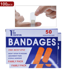 цена 100pcs/2bags Medical Plaster Neweast bandages Waterproof Breathable Band Aid Hemostasis Adhesive Bandages Curative Plaster