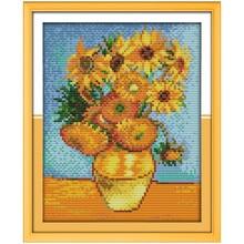 Freeshipping Van Gogh's Sunflower Painting!DIY Needlework DMC Counted Cross