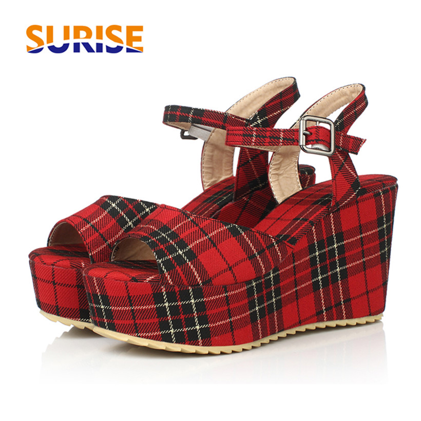Casual Woman Platform Sandals 10cm Flat Wedge Heel Open Toe Checkered Cotton Fabric Summer Sweet Office Party Lolita Lady SandalCasual Woman Platform Sandals 10cm Flat Wedge Heel Open Toe Checkered Cotton Fabric Summer Sweet Office Party Lolita Lady Sandal