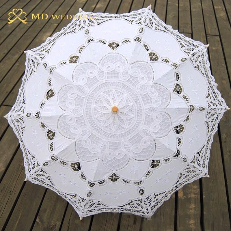 New Lace Umbrella Cotton Embroidery White/Ivory Battenburg Lace Parasol Umbrella Wedding Umbrella Decorations Free Shipping 10
