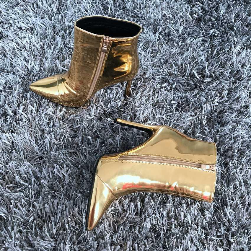 2019 סתיו winte נשים מגפי כסף זהב מתכתי עור קרסול מגפי נשים הבוהן מחודדת עקבים גבוהים מגפיים סקסי גבירותיי נעליים