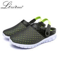 KESMALL Size 46 Summer Mesh Sandals Beach Clog Casual Shoes For Men Quick Drying Flat Light Outdoor Male Gardening Soft Slippers