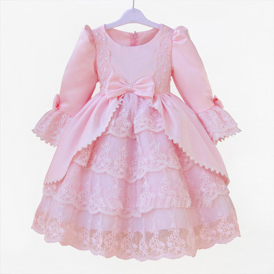 South Korea s Children s Princess Girls Fall Paragraph Long Short Sleeved Dress Pink Bow Kids