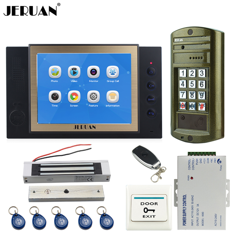 JERUAN 8 inch TFT LCD Color Video DoorPhone Intercom System kit Metal Waterproof password keypad HD Mini Camera 8GB Card +E-lock jeruan 8 inch tft video door phone record intercom system new rfid waterproof touch key password keypad camera 8g sd card e lock